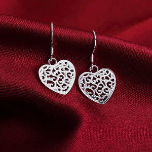 NEW ARRIVE hot silver plated women Lady Heart cute wedding Party earring jewelry best gift Girl nice retro Valentine's gift
