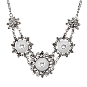 NEW DJ0093 Elegant Vintage Rhinestone Flowers trendy Snap necklace 60cm fit DIY 18MM charm snap buttons jewlery wholesale