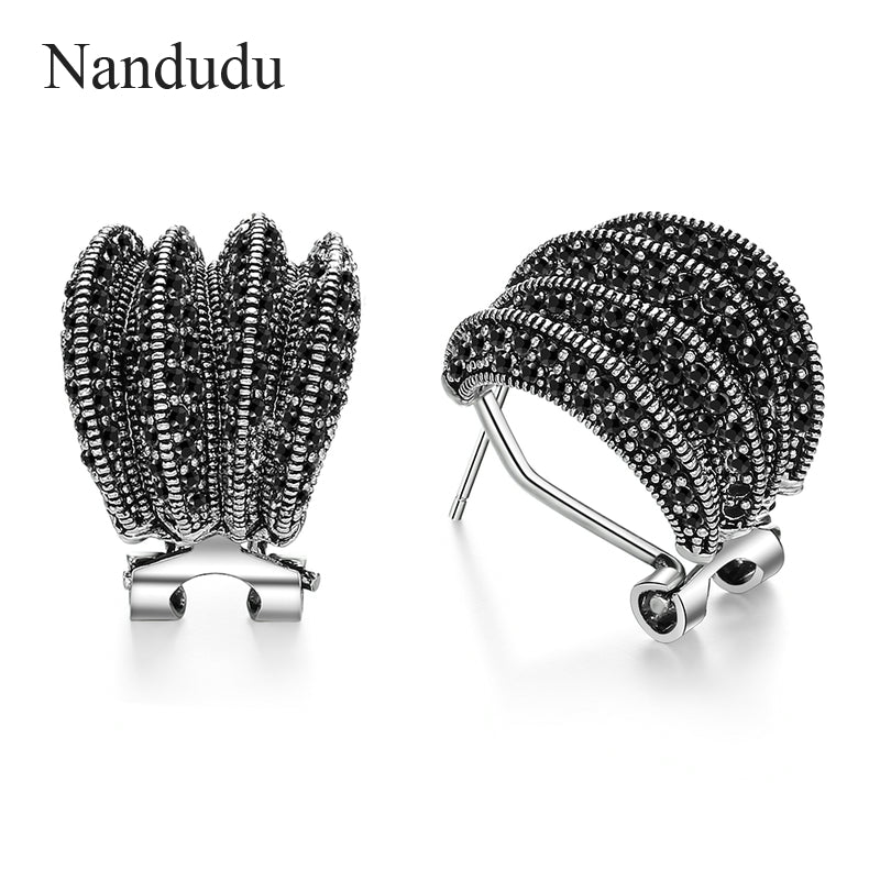 Black Marcasite Stud Earrings for Women Girl Dignified Antique Earring Retro Design Vintage Jewelry Gift CE354