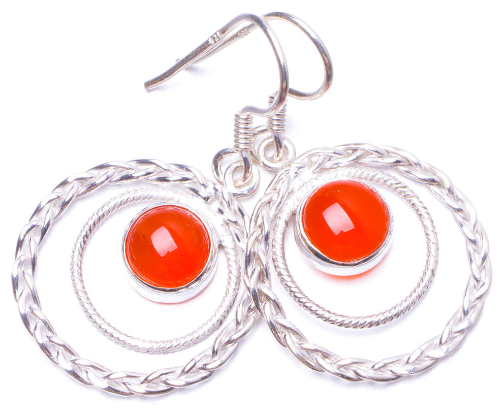 Natural Carnelian Handmade Unique 925 Sterling Silver Earrings 1.25 Y0985