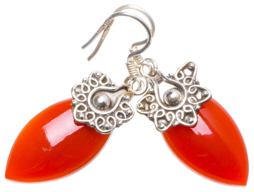 Natural Carnelian Handmade Unique 925 Sterling Silver Earrings 1.5 X4888