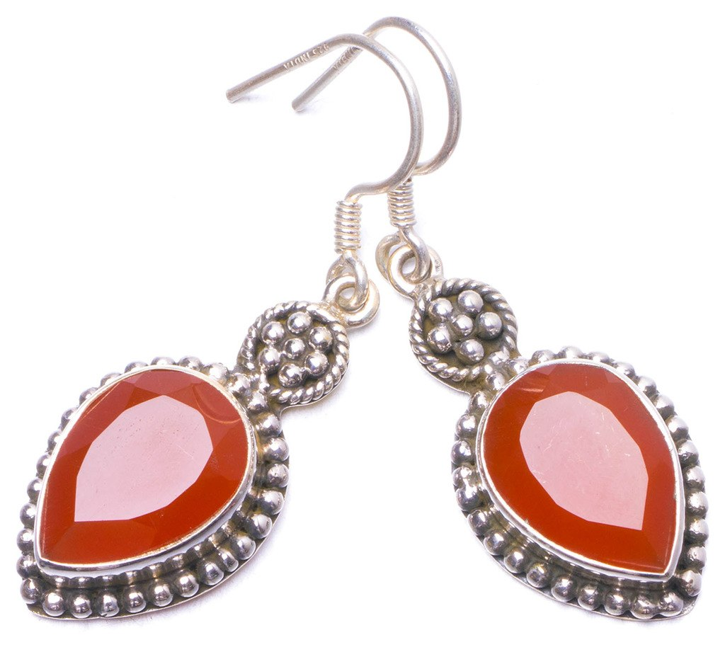 Natural Carnelian Handmade Unique 925 Sterling Silver Earrings 1.5 Y1165