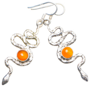 Natural Carnelian Handmade Unique 925 Sterling Silver Earrings 2 X4549