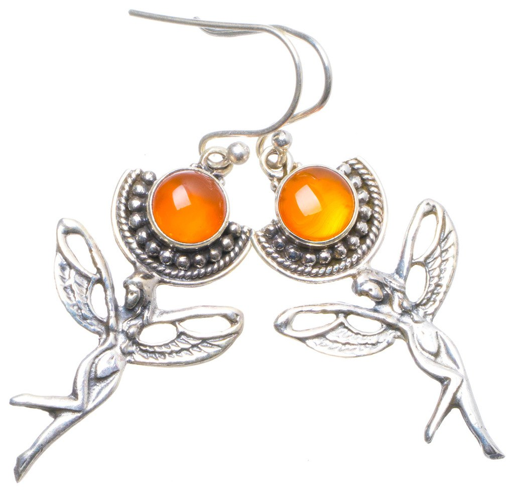 Natural Carnelian Handmade Unique 925 Sterling Silver Earrings 2 X4817