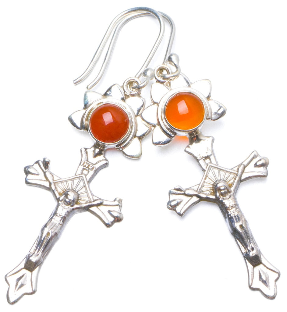 Natural Carnelian Handmade Unique 925 Sterling Silver Earrings 2 Y0222