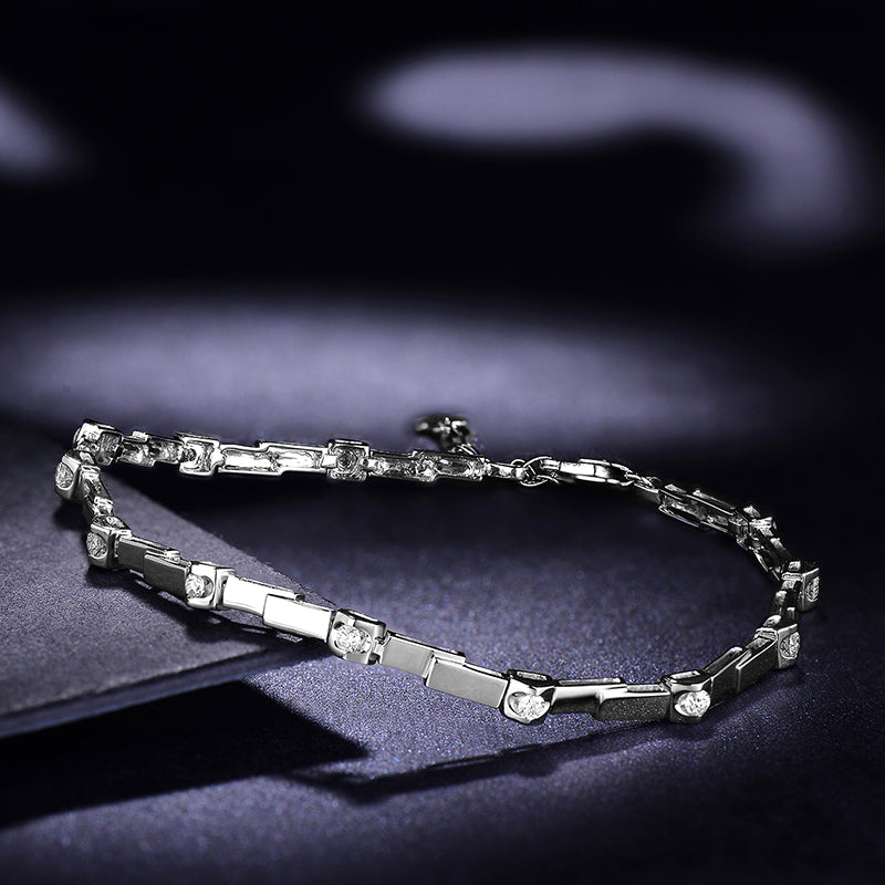 Natural Diamond Bracelet for Women 0.30ct/12pcs Diamond Jewelry 18K White Gold 18cm Length Handmade Wedding Engagement Jewellery