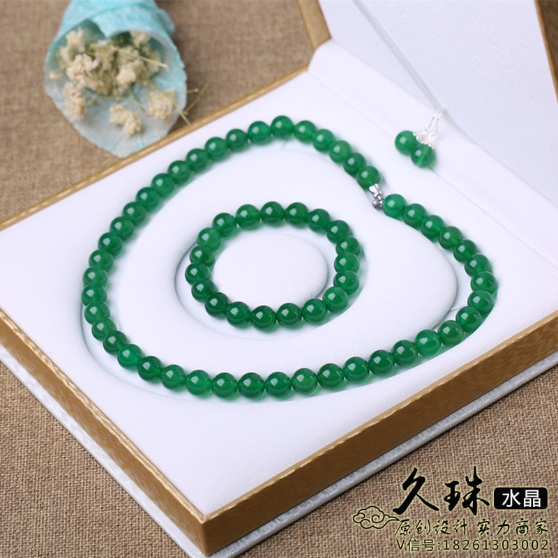 Natural Jewelry 8mm Brazil Top Natural Green Stone Chalcedony Necklace Bracelet and Earring for Graceful Women