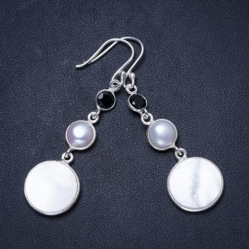 Natural Mother Of Pearl,River Pearl and Black Onyx Unique 925 Sterling Silver Earrings 2.25 X3694