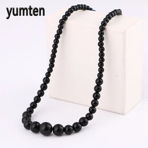 Natural Obsidian Black Onyx Beautiful Stone Pendant 10-14mm Fashion Long Necklace Natural Stone Necklace For Women Jewelry