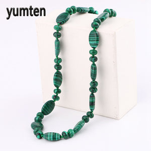 Natural Stone Necklace 45 Cm Oval Crystal Handwoven Knotted Necklace Women Jewelry Opal Malachite Quartz Round Beads Stone Onyx