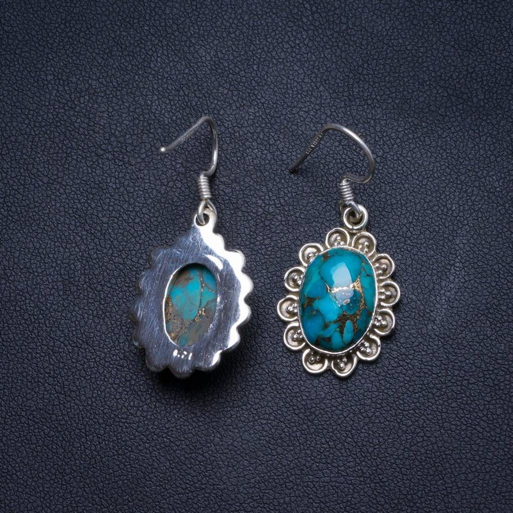 Natural Turquoise Handmade Unique 925 Sterling Silver Earrings 1.25 X3895