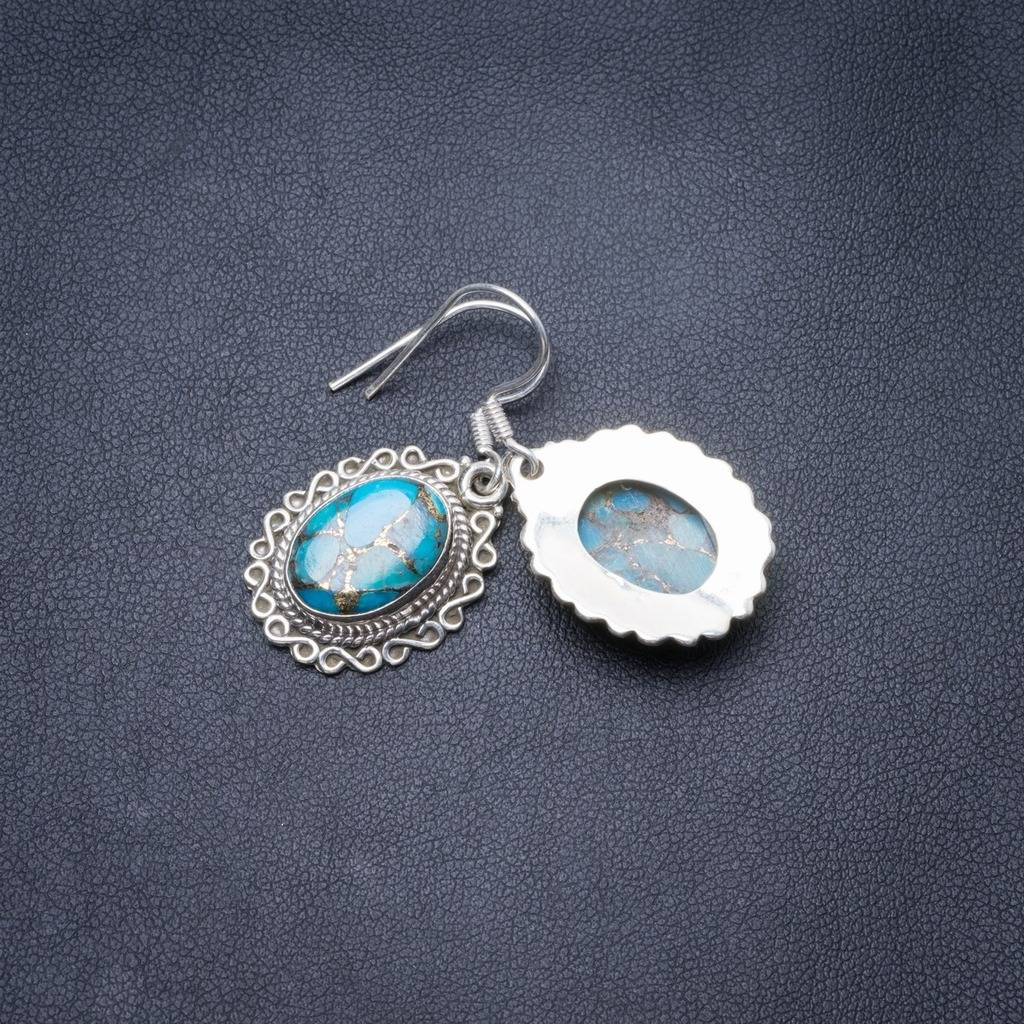 Natural Turquoise Handmade Unique 925 Sterling Silver Earrings 1.5 Y3569