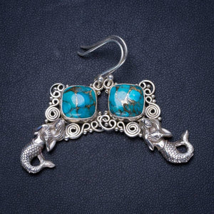 Natural Turquoise Handmade Unique 925 Sterling Silver Earrings 2 X3663
