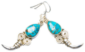 Natural Turquoise Handmade Unique 925 Sterling Silver Earrings 2 Y0363