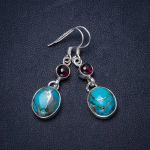 Natural Turquoise and Amethyst Handmade Unique 925 Sterling Silver Earrings 1.5 X3643
