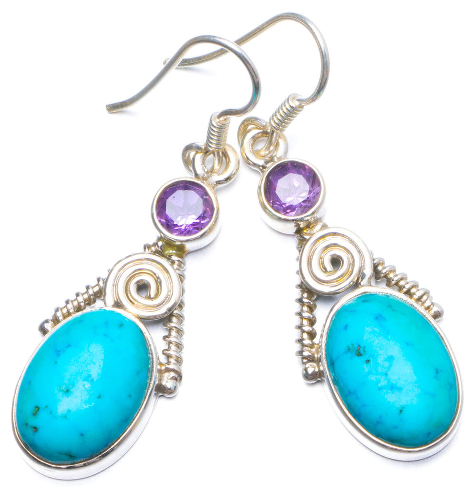 Natural Turquoise and Amethyst Handmade Unique 925 Sterling Silver Earrings 1.75 X5076