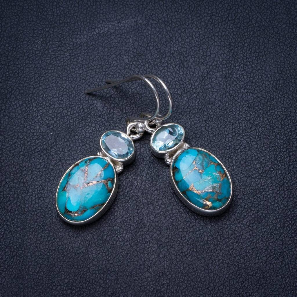 Natural Turquoise and Blue Topaz Handmade Unique 925 Sterling Silver Earrings 1.25 X3623