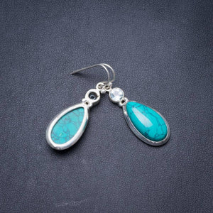 Natural Turquoise and Blue Topaz Handmade Unique 925 Sterling Silver Earrings 1.5 Y3501