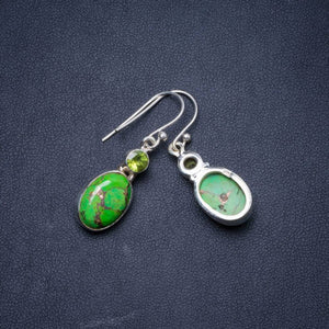 Natural Turquoise and Peridot Handmade Unique 925 Sterling Silver Earrings 1.5 Y1268