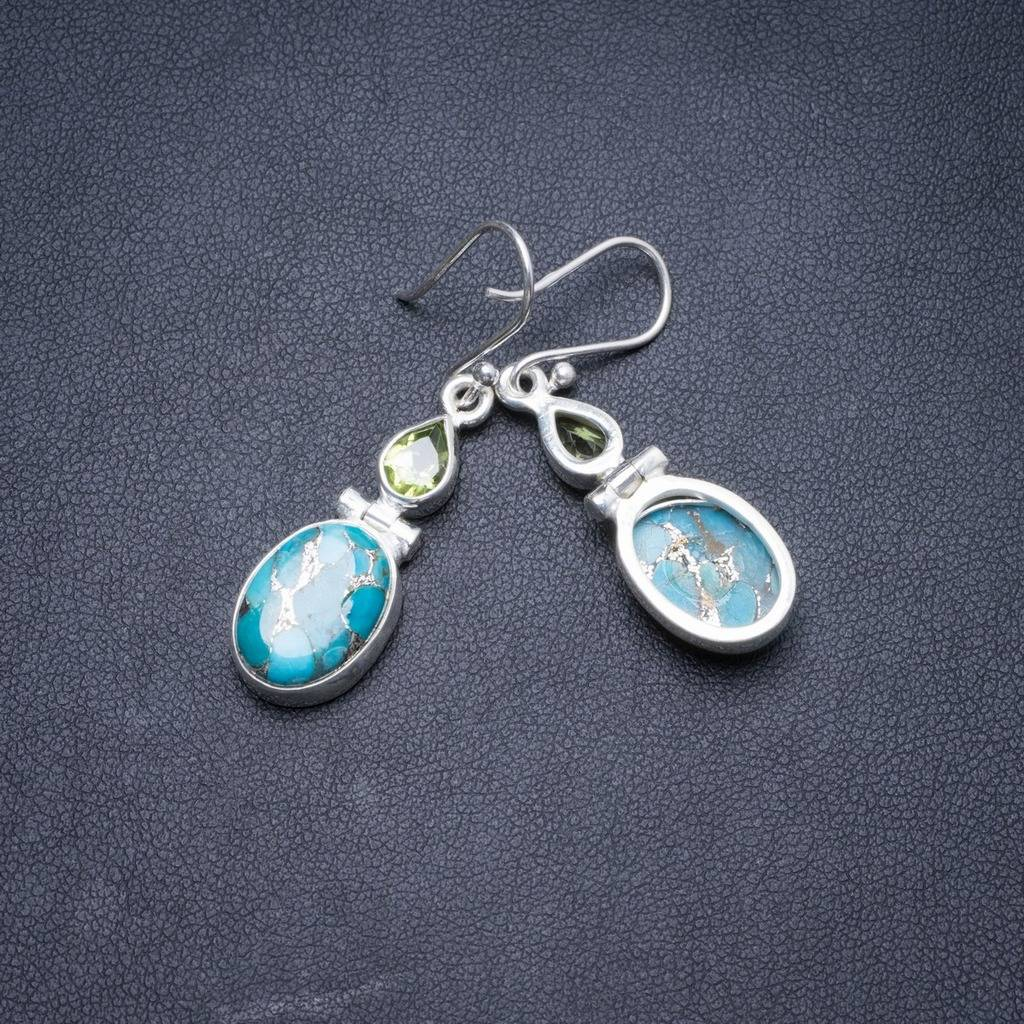 Natural Turquoise and Peridot Handmade Unique 925 Sterling Silver Earrings 1.5 Y2758