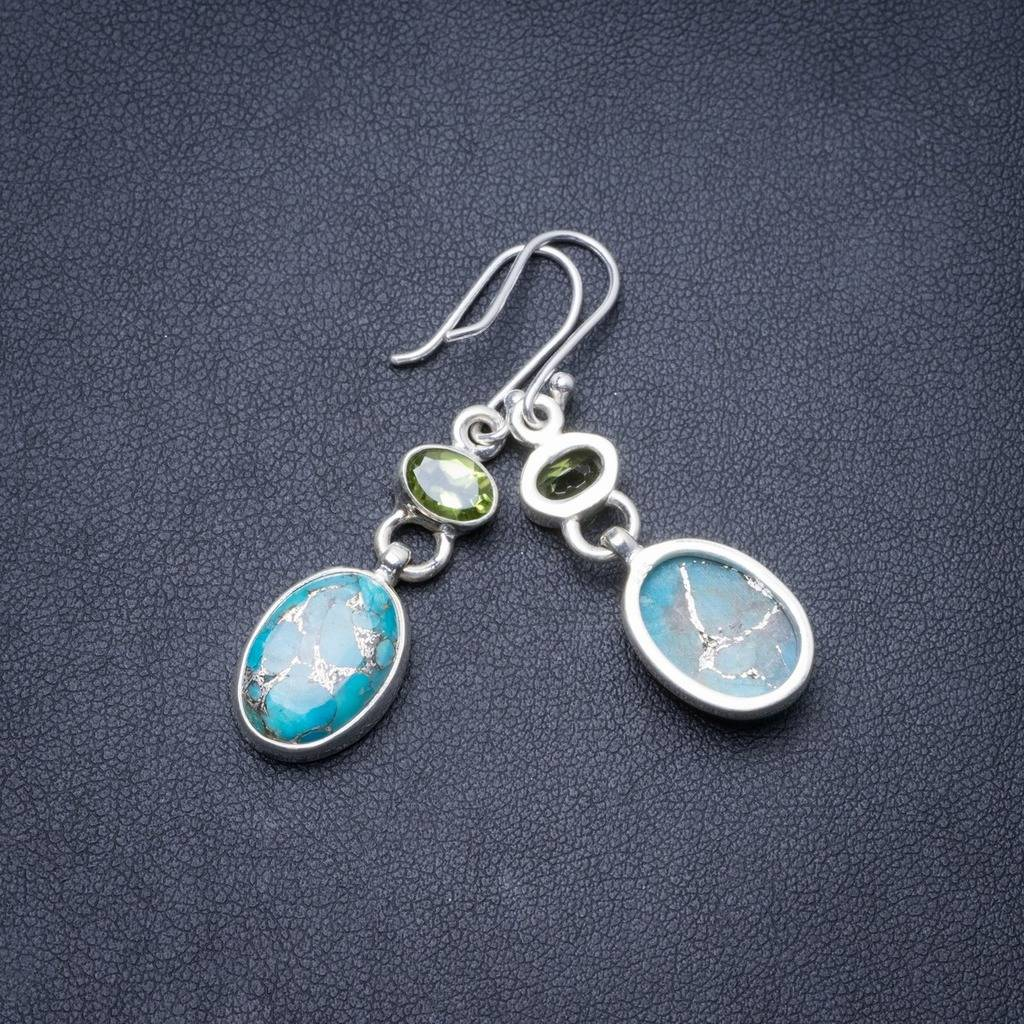 Natural Turquoise and Peridot Handmade Unique 925 Sterling Silver Earrings 1.75 Y3008