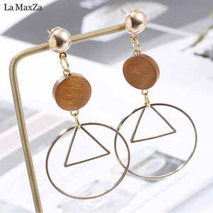 Natural Wood Earring Wooden Earrings For Women Geometric Statement Exaggerated Long Stud Earrings Girls Fashion Jewelry 2018