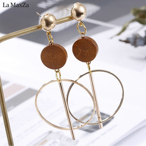 Natural Wood Earring Wooden Earrings For Women Statement Exaggerated Geometric Long Stud Earrings Girls Fashion Jewelry 2018