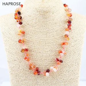 Natural agate necklace plaque bead beads red agate necklace lobster clasp 20 inches necklace sequins weaving ethnic style