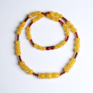 Natural amber beeswax treasure necklace beeswax beads with blood purse chain men and women more than treasure chain necklace