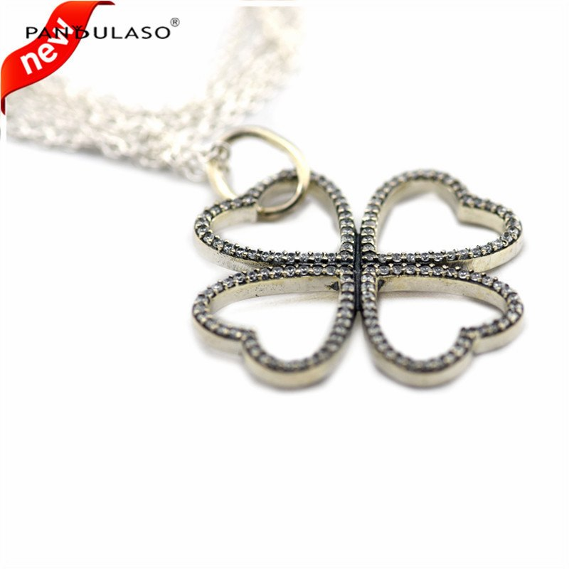 New 2016 925-Sterling-Silver Petals of Love Necklace Pendant With CZ Necklaces & Pendants for Women Silver 925 Fashion Jewelry