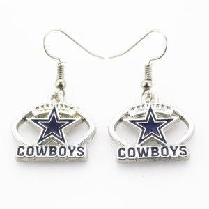 New Arrival 6 pair/lot USA Dallas Cowboys Football Earring Team Sports Long ear hook Drop Earrings for Women Fans