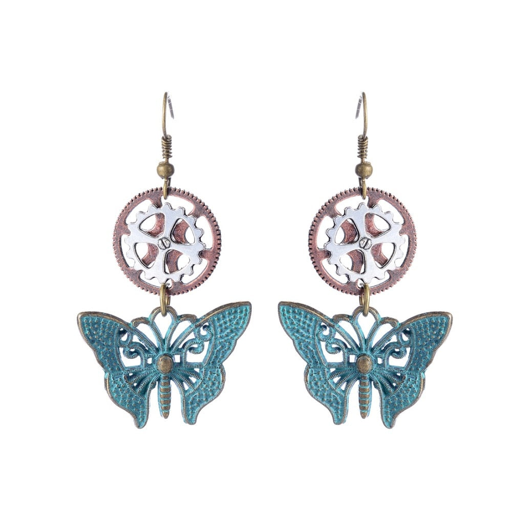 New Arrival Brass Green Butterfly and Four Clover Gears Women`s Steampunk Fashion Drop Earring