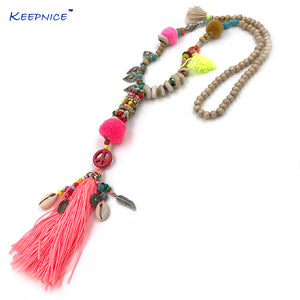 New Clothing Accessories Bohemian Wood Beaded Tassel Long Necklace Pink Fringes Pompous Pendants Necklace For Women dropshipping