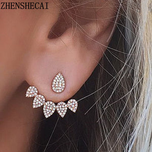 New Crystal Front Double-Faced Shiny Drop Earrings For Women Fashion Ear Piercing Jewelry Bijoux Party Gift For Girls e0123
