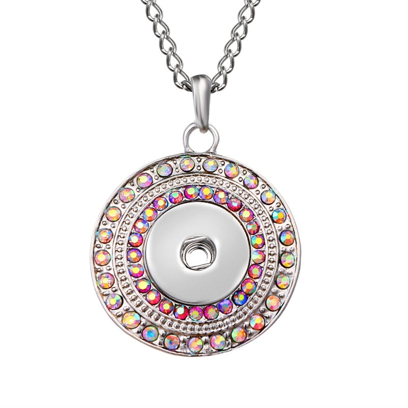 New Fashion Beauty Rhinestone Round Metal snap pendant necklace 60cm fit 18mm snap buttons snap jewelry XL0146