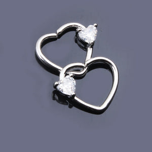 New Fashion Hot Selling A Pair Earrings Beautiful Shiny Heart Stainless Steel Earring Crystal Stud Earrings for Women