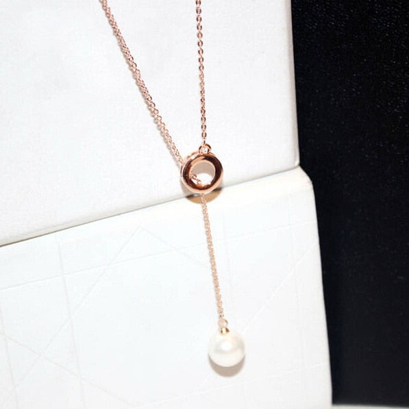 New Fashion Long Necklace Women Simulated Pearl Jewelry Bijoux Necklaces & Pendants Cute Gift