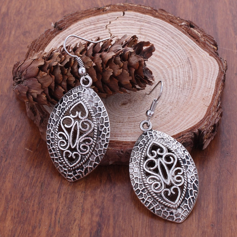 New Fashion Statement Bohemian Vintage Ethnic Tibetan Silver Hollow Big Oval Drop Earring Carved Flowers Drop Earrings For Women