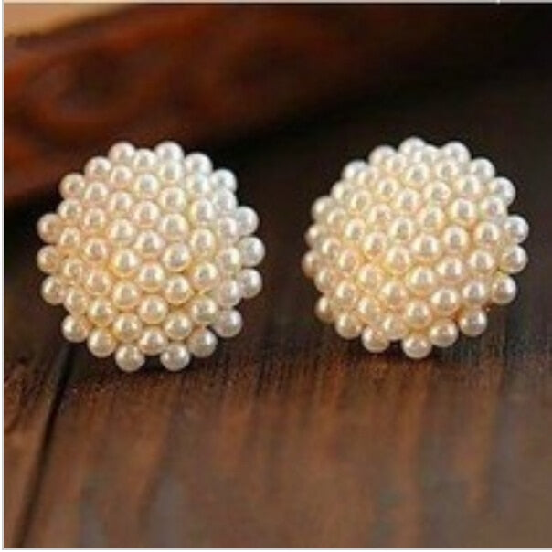 New Fashion Vintage Full Pearl Peach Heart Earrings Jewelry