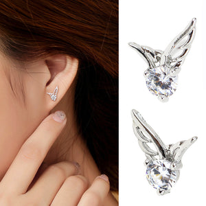 New Fashion Womens Silver Plated Jewelry Angel Wings Crystal Ear Stud Earrings