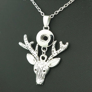 New Fashion elegant Lovely elk pendant snap necklace 50cm fit 12mm snap buttons snap jewelry Christmas XL9032