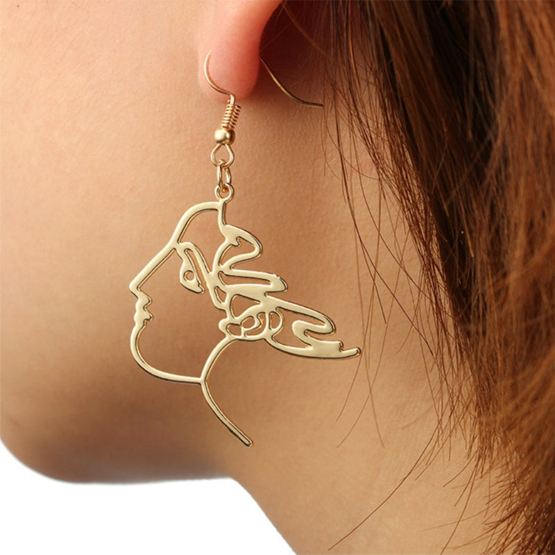 New Human Face Earrings Abstract Style Art Hollow Creative Women Jewelry Fashion