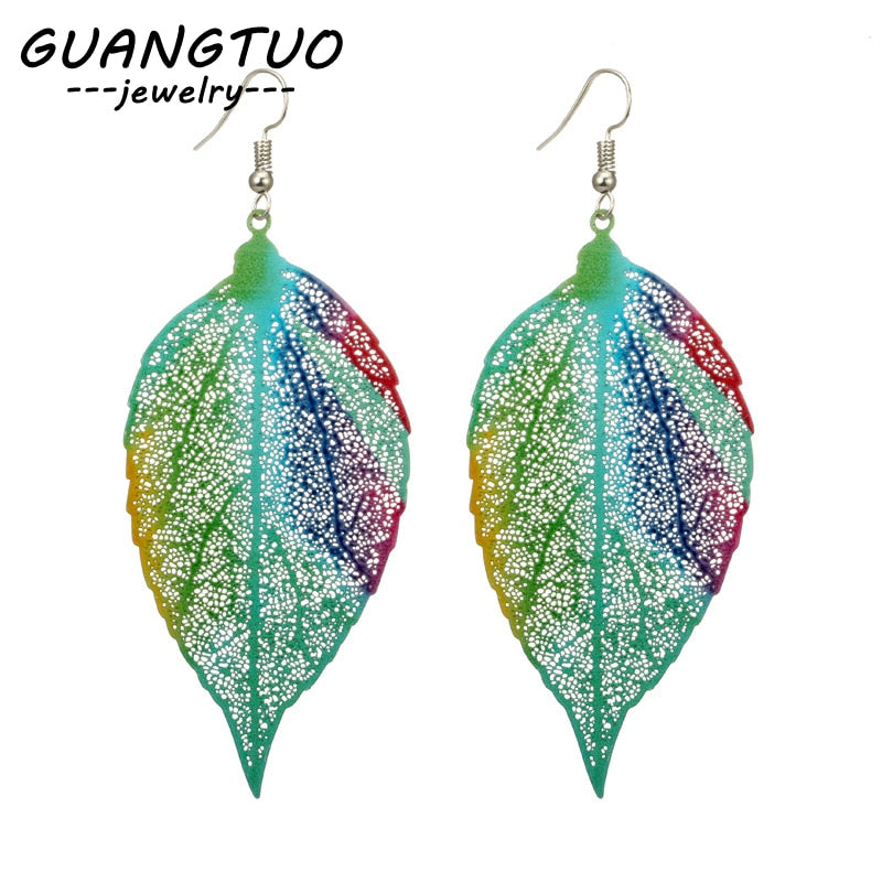 New Plant Multi Color Hollow Leaves Drop Earrings For Women Girls Gift Fashion Ear Jewelry Exaggerated Dangle Brincos EB2142