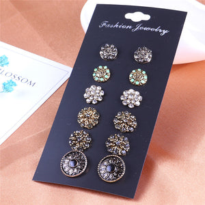 New Punk Bohemia 6 Pairs/lot Round Rhinestone Alloy Stud Earrings For Women Mixed Style Fashion Stud Nail Jewelry Wholesale