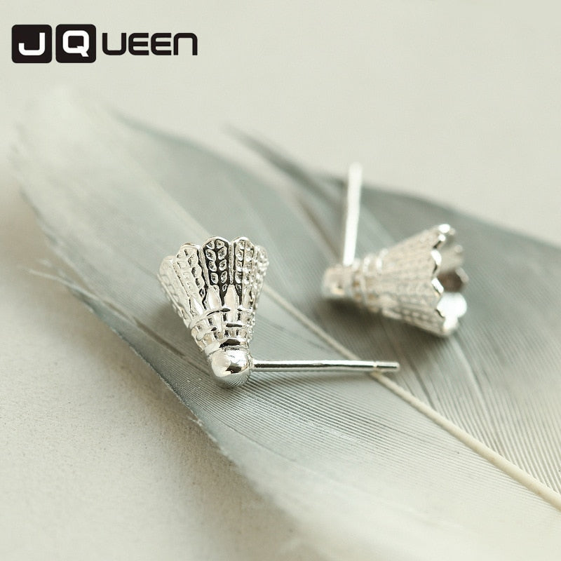 New Punk silver Color Badminton Earrings Temperament Personality Creative Stud Earrings Ear Fashion Jewelry