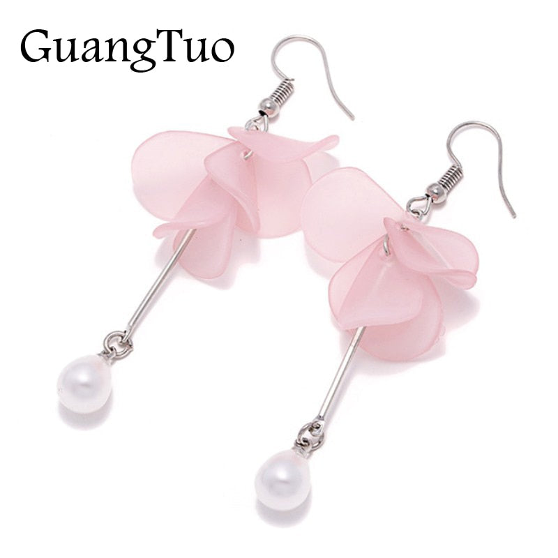 New Sweet Multilayer Petals Simulated Pearl Flower Drop Earrings for Women Jewelry Temperament Long Tassel Brincos oorbellen