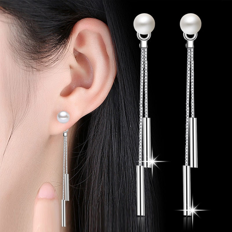 New Trendy Long Earrings For Women Simulated Pearl Drop Earring Silver-color Double Chain Tassel Pendant Earring Accessories