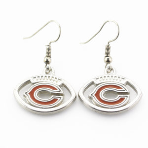 Newest 6 pair/lot USA Chicago Bears Football Earring Team Sports Long ear hook Drop Earrings for Women Fans