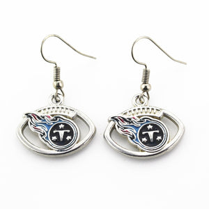 Newest 6 pair/lot USA Tennessee titans Football Earring Team Sports Long ear hook Drop Earrings for Women Fans