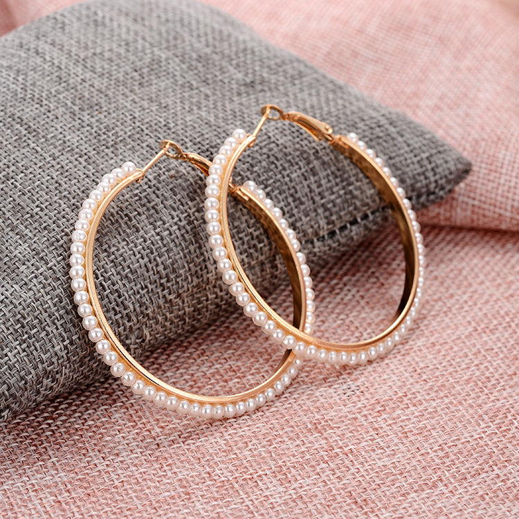 Newest Women Big Statement Stud Earrings Fashion Alloy Round Loop Hoop Big Circle simulated Pearl Filled Earrings